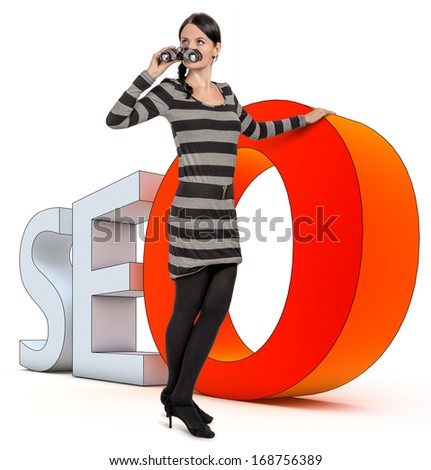 woman leans on a SEO icon - stock photo