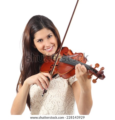 Woman learning to play violin isolated on a white background - stock photo