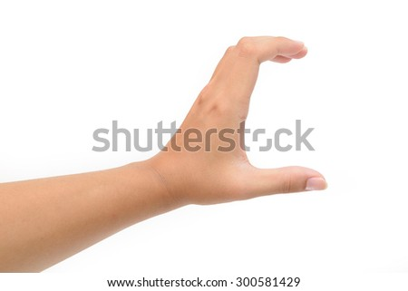 Woman left hand hold card, credit, blank paper or other isolated on white background. Female left hand showing empty space for your choice - stock photo