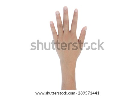 Woman left hand showing five count - stock photo
