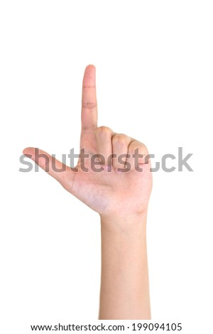 Woman left hand showing the two fingers isolated on a white - stock photo