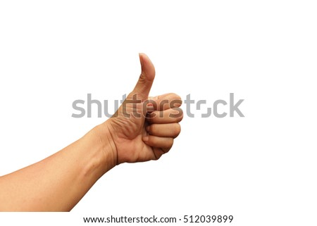 woman left hand showing thumps up or commend sign good and like.