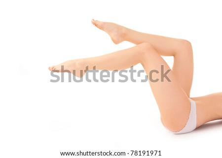 woman leg over white background