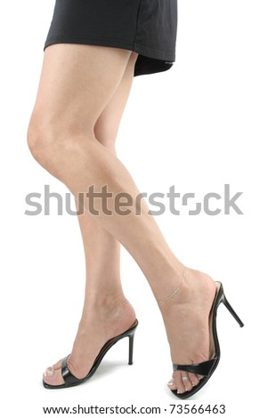 Woman legs black dress heels over white