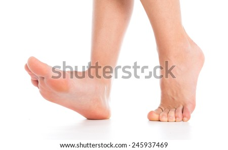 Woman legs foot stepping - stock photo