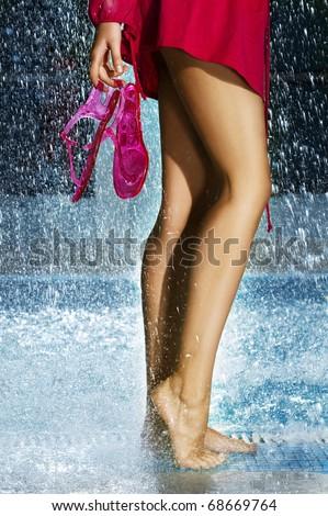 Pool Water Splash woman legs swimming pool water splash stock photo 68669764