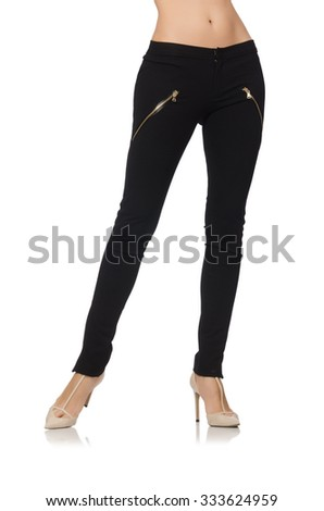 Woman legs isolated on white - stock photo
