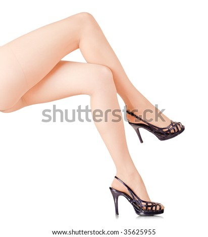 Woman legs isolated on white background - stock photo