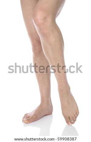 Woman legs isolated over white
