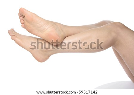 Woman legs isolated over white background - stock photo