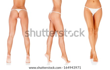 Woman legs, white background, copyspace
