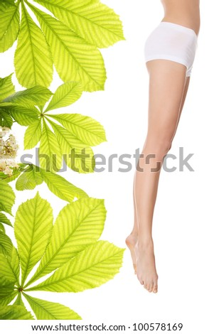 Woman legs with moisturizer horse chestnut body cream - stock photo