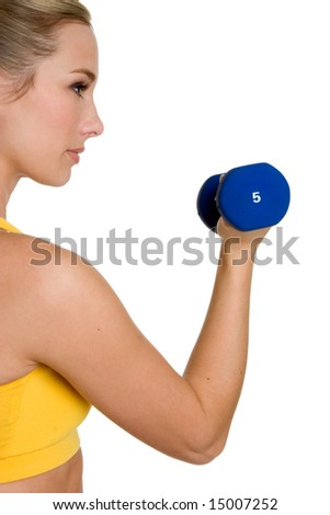 Woman Lifting Dumbbell - stock photo