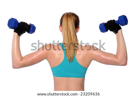 Woman lifting dumbbells isolated over a white background - stock photo