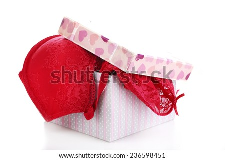 Woman lingerie in gift box isolated on white background - stock photo