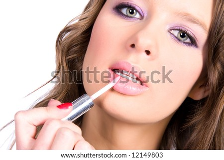 Woman lips make-up. Isolated on white. - stock photo