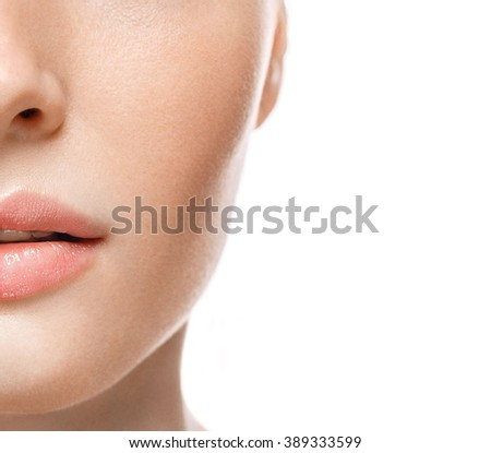 Woman lips nose half-face - stock photo
