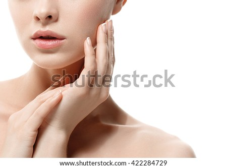 Woman lips nose nature skin hand in chin  - stock photo