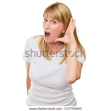 Woman Listening Gossip On White Background - stock photo