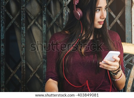 Woman Listening Music Media Entertainment Relaxation Concept - stock photo