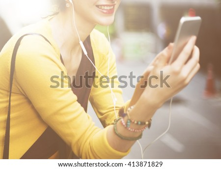 Woman Listening Music Media Entertainment Traveling Concept - stock photo