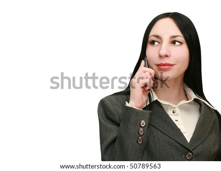 Woman Listening on the phone - stock photo