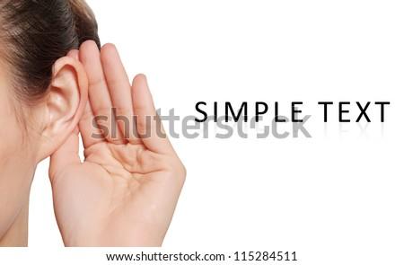 woman listening to gossip - stock photo