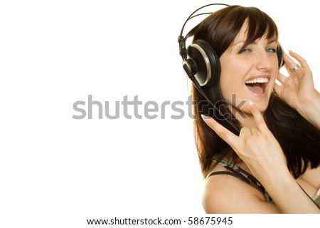 Woman listening to music and singing. Isolated on white background. Rock Music - stock photo