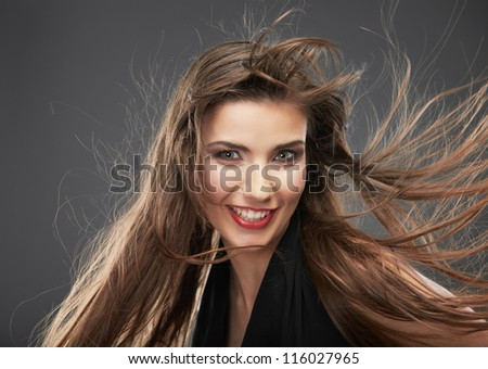 Woman long hair portrait isolated on gray background