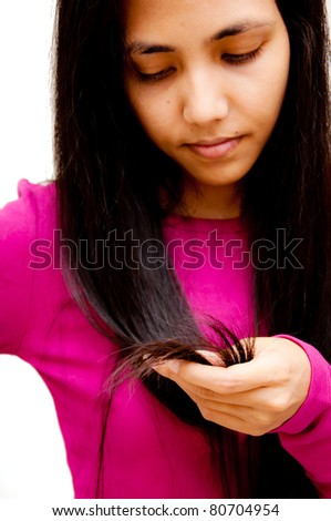 woman look on hair problem