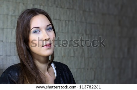 Woman looking at evening - stock photo