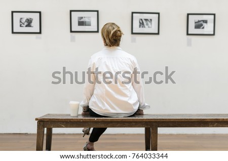 Woman Looking Frames Exhibition Stock Photo (Download Now) 764033344 ...
