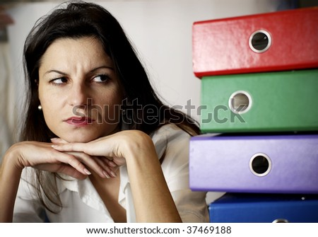 woman looking at the office folders - stock photo