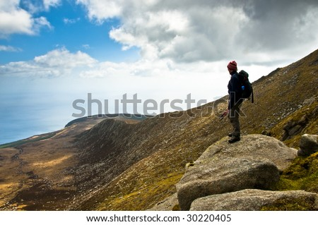 Woman looking at View on Goatfell