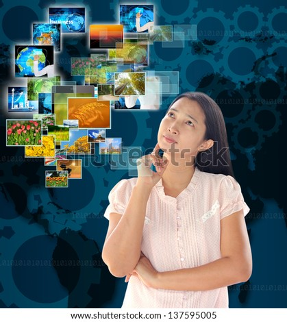 woman looking  button streaming multimedia from internet - stock photo