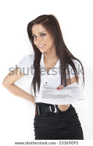 woman looking for a new job, showing her CV, - stock photo