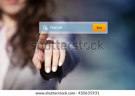 Woman looking for job by pressing search button on virtual touch screen. Searching for job on internet browser. - stock photo