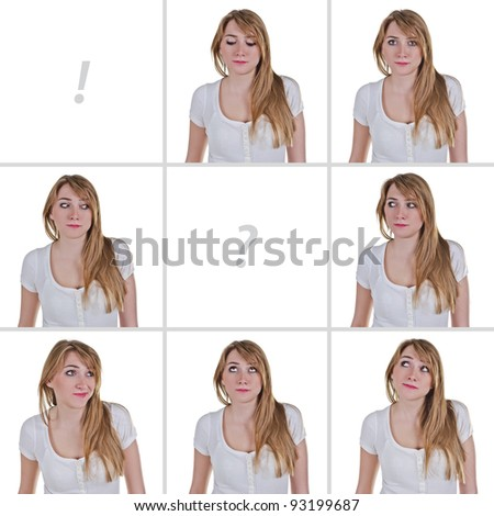 Woman looking in various directions, conceptual digital collage with copy-space, isolated over white - stock photo