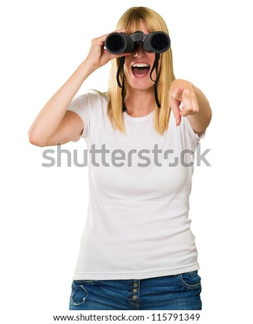 woman looking through binoculars and pointing against a white background - stock photo