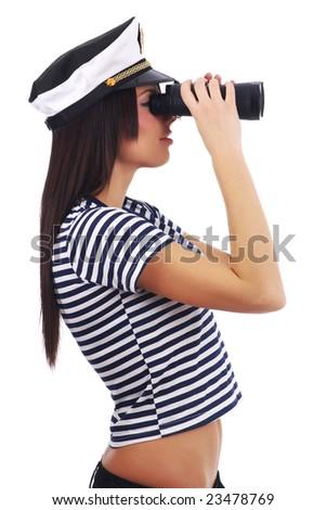 Woman looking through binoculars isolated on white - stock photo