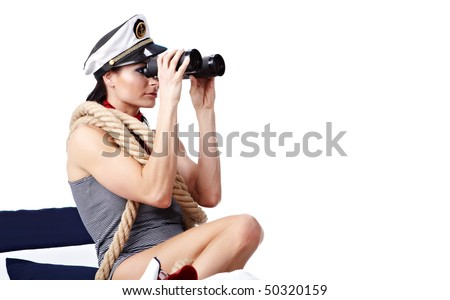 Woman looking through binoculars isolated on white