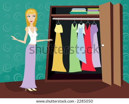 Woman looking through her closet at clothes - figuring out what to wear - stock photo