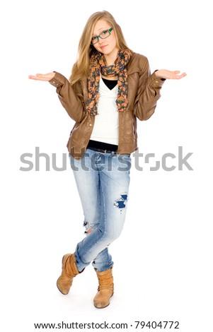 Woman looking uncertain - stock photo