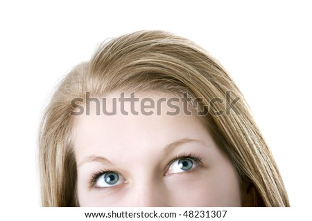Woman looking up - stock photo