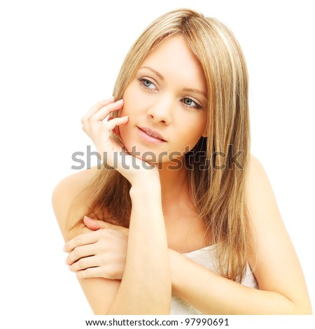 Woman looking up isolated - stock photo