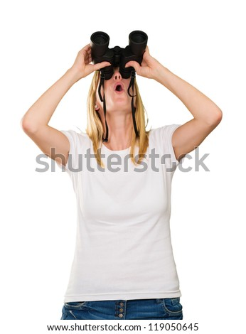 woman looking up using binoculars against a white background - stock photo