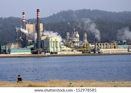 Woman looks at emissions and environment contamination.  Industrial business in front of oceanic water.