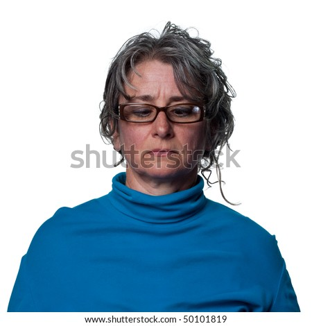 Woman looks at the end of her nose, - stock photo