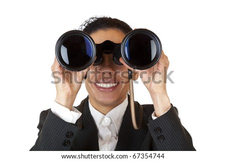 Woman looks through binoculars and found business. Isolated on white background. - stock photo