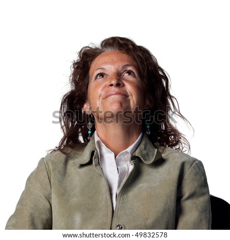 Woman looks to the sky - stock photo